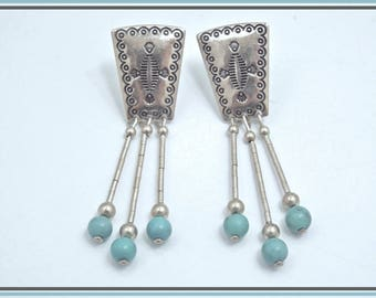 Carolyn Pollack Design for Quoc Q.T. Vintage Sterling Silver & Turquoise Bead Dangle Earrings Southwestern Style