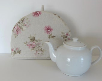Fabric tea cozy, Cotton fabric cozy, Lined teapot warmer, Roses print fabric, Romantic tea cosy