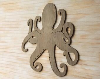 "Octopus Art Octopus Decor Nautical Decor Large Wooden Octopus Wall Art Beach House Decor Sea Octopus Sea Creature 33"" Wide Large Wall Art"