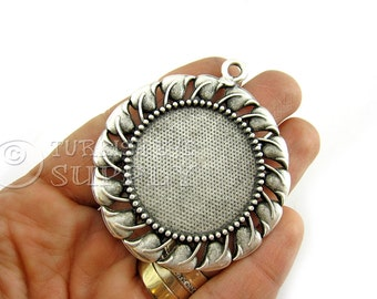 Antique Silver Plated Blank, Cabochon Setting, Pendant Base, Mountings, Findings