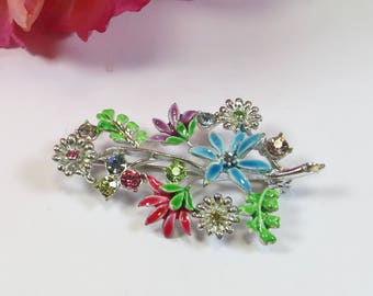 Vintage 1960s Enamel Crystal Pin Brooch, Lovely Bright Multicolour Flower Brooch Pin with Rhinestones Blue Pink Mauve Green, Vintage Gift