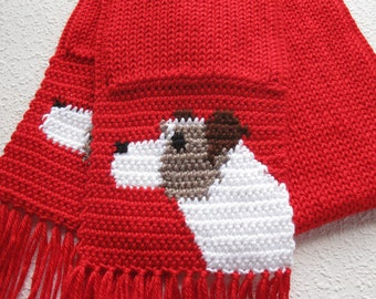 Jack Russell Terrier Scarf. Red knitted scarf with Parsons Terriers. Knit dog scarf. Dog gift