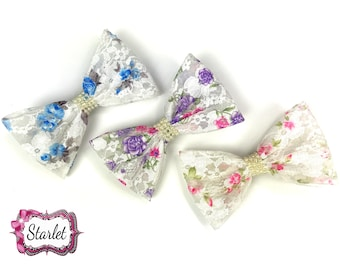 """5"""" Floral Lace Pearl Bow with Clip, Pick Color, Girl's Accessories, Hair Bow"""