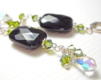 Nuuanu - Earrings / Sterling Silver, Swarovski Crystal, Czech Glass, Midnight Black, Rectangle, Teardrop, Green, Made in Hawaii