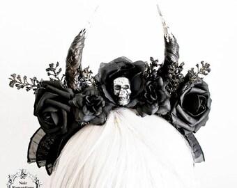 Schwarze gothic Blume Horn Stirnband-Gothic Totenkopf Kopfschmuck-schwarze Blume Kopfschmuck-Schädel Kopfstück