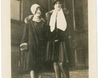 vintage photo 1927 Teenage Girls Flapper Cloche Hats Black Nylons
