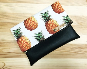 Fold over clutch, Pineapple Clutch, faux leather clutch, vegan leather clutch, pineapple bag, handbag, summer clutch, Sunshine Pineapple