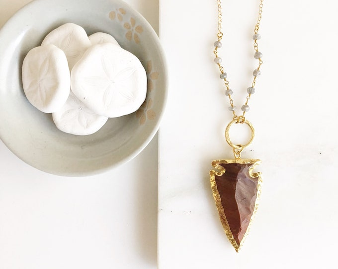 Brown Arrowhead Pendant Necklace. Long Gold Circle Arrowhead Necklace. Brown Arrowhead and Grey Beaded Chain. Boho Pendant Necklace.