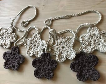 Garland of crocheted flowers Sage silver and dark grey