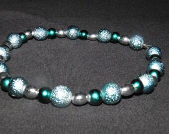 Metallic Blue and Silver Bracelet