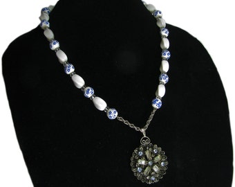 Beautiful One of a Kind Vintage Modern White and Blue Hand Crafted Artisan Necklace By SoniaMcD