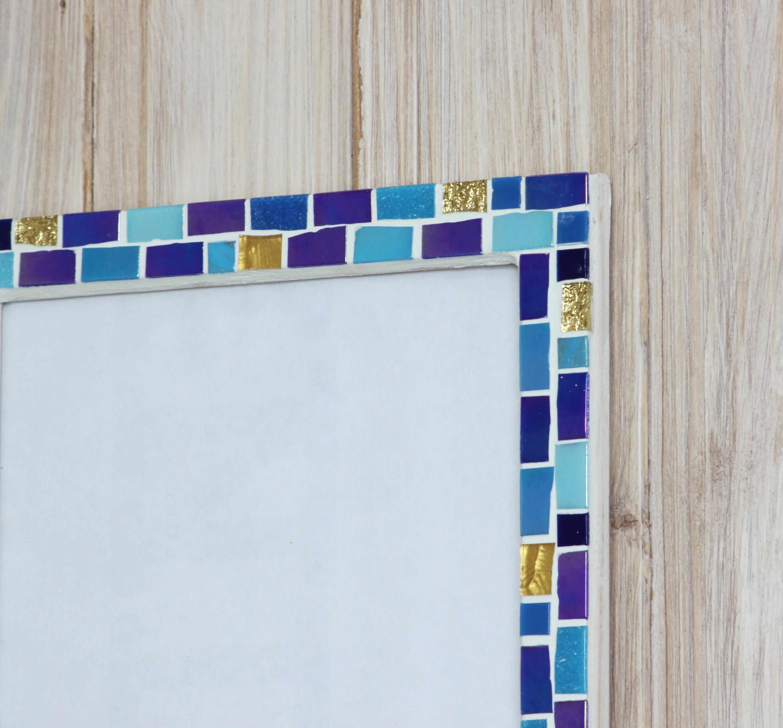 marco de fotos marco de 7 x 7 - mosaico pared foto marco - azul ...