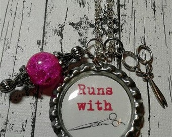 Runs with Scissors Hair Stylist Necklace