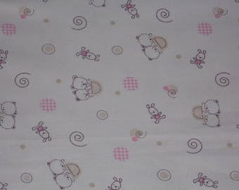 Cotton fabric Bunny and teddy bear, white, beige, pink 50 x 65 cm