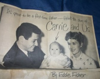 vintage magazine story, Eddie Fisher,Debbie Reynolds,Carrie Fisher.