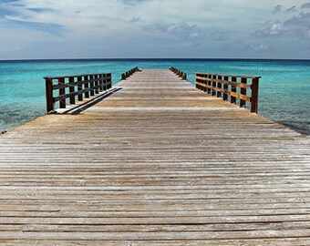 Dock in Grand Turk. 16x20 Canvas Gallery Wrap - art photography  wooden dock in the ocean