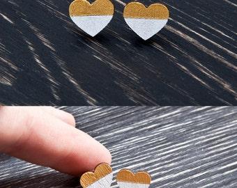 Tiny Heart Stud Earrings, Best Valentines Day Gift for Her, Wooden Earrings, Heart Earrings, Gold Small Earrings, Mother Day Gift