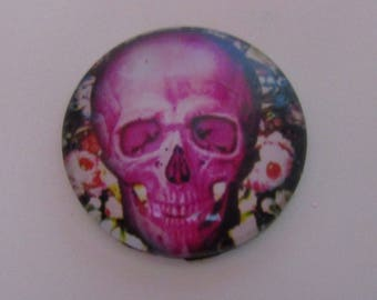 1cabochon glass 25mm skull theme