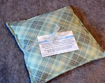 FLANNEL Microwave Heat Pack, Heating Pad, Corn Bags, Hand Warmer, Cramping, Migraine Headache -- Small 9x9 -- Flannel Green Plaid