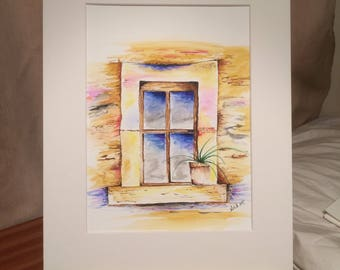 Original Pen and Watercolour painting by Angela Blackburn Artist Old window scene with potted plant