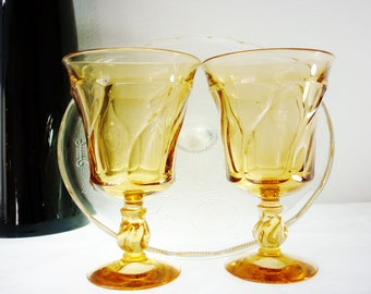 Fostoria Amber Water Goblet Set Jamestown Pattern