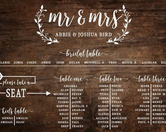 Rustic Wedding Seating Chart - Printed