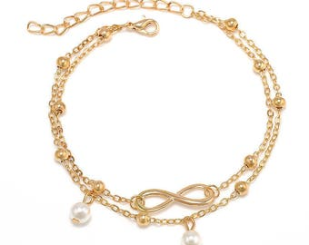 Gold infinity anklet, double chain anklet, gold plated anklet, pearl anklet, beach anklet, ankle bracelet, women anklet, foot bracelet