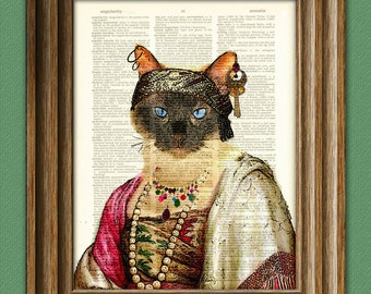 Madam For-tuna Gypsy Fortune Teller Cat illustration beautifully upcycled dictionary page book art print