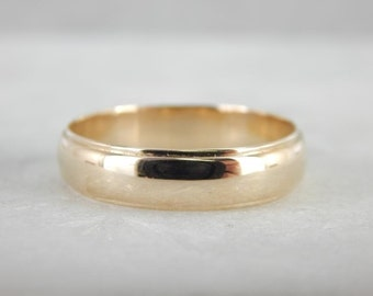 Vintage Gold Wedding Band With Simple Lines 7UV5AX-R