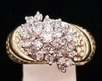 14 K yellow gold cluster diamond ring