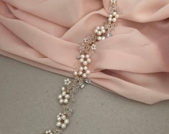 Bridal Hair Vine, Freshwater Pearls, Gold Hair Vine
