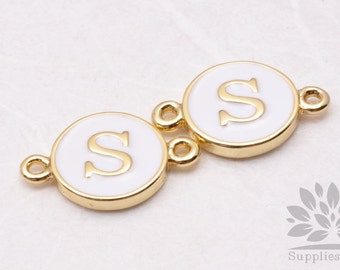 """IP004-G-S// Gold Plated White Epoxy Initial """"S"""" Round Pendant Connector, 2 pcs"""