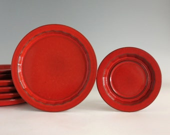 Ceramano Ember Plates (5) and 3 Saucers - Vintage West Germany Red Orange Pottery, Fat Lava Style West German Pottery, 1970s German Keramik