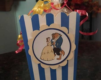 12 Disney Inspired Beauty and the Beast Mini Party Favor Popcorn Boxes