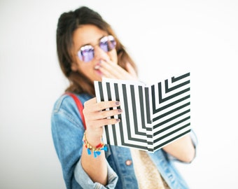 Black and White L Stripe Notebook