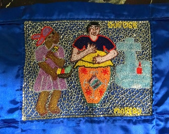 Haitian,signed by Moreau and Guedee hand beaded art piece,signed circa 1970. one of a kind