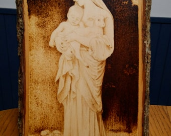 L'Innocence - re-creation of William Adolphe Bouguereau - Wood Burning Art Rustic Decor Pyrography Artistry Artisan Christian Christianity