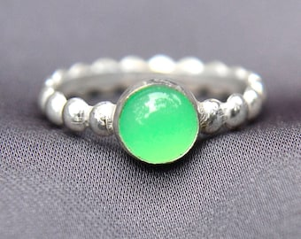 Lime Green Stacking Ring, Sterling Silver Ring with Chrysoprase Jewel, Bridesmaids Gifts