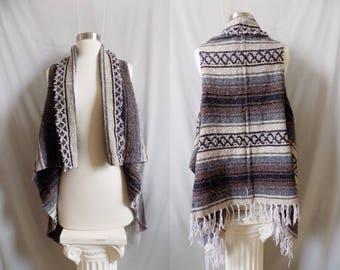 Brown Vest- Boho Fringe- Bohemian Clothing- Handmade Vest- Poncho- Tribal Clothing- Bohemian Top- Boho- Hippy Boho- Drug Rug