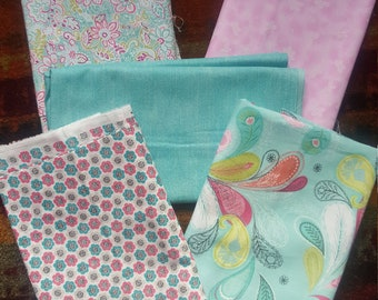 Bundle of 5,   7/8 of a yard cuts in soft pink and turquoise tones