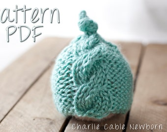 Charlie Cable Newborn Hat Pattern, PDF Knitting Pattern, Knit Hat Pattern, Cable Hat Newborn Pattern, Knit Baby Hat, Newborn Cable Hat, Knit