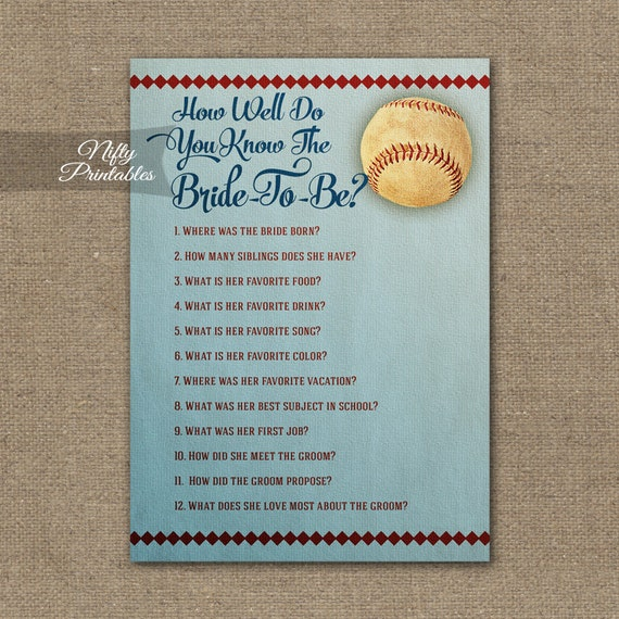 How Well Do You Know The Bride Baseball Bridal Trivia Game