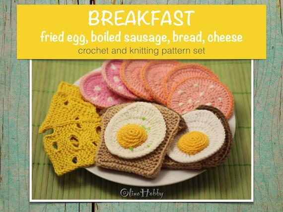 BREAKFAST Crochet Knitting Patterns Set PDF - Crochet fried egg ...