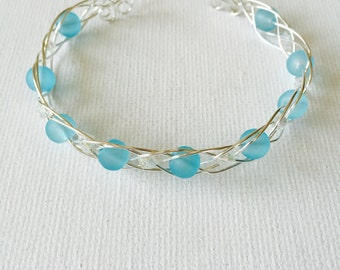Blue Sea Glass And Crystal Sterling Silver Woven Wire Cuff Bracelet