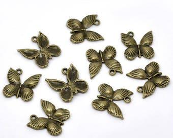 Charms bronze metal (x 4) small butterflies