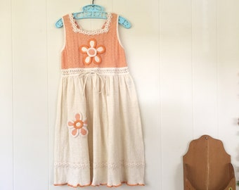 1970's orange floral lace up peasant dress - size 6