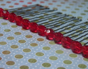 12 Light Red 8mm Crystal Hair Pins