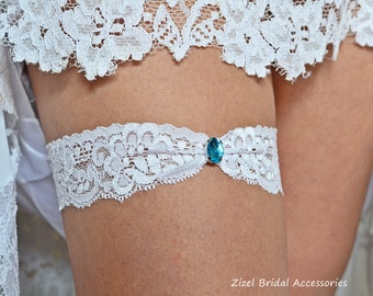 1 Wedding Garter, Blue Wedding Garte, Bridal Garter, Rhinestone Garter, Lace Aqua Garter, Something Blue,Toss Garter, White lace Garter