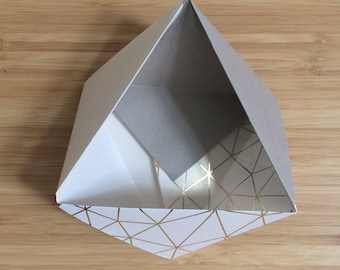 Paper Bowl Ornament || Gold Cream Small