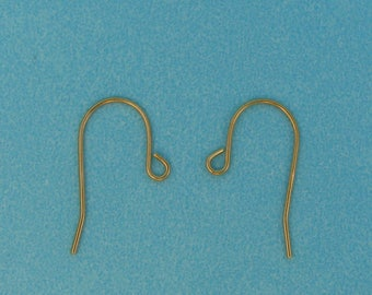 14k Yellow Gold Shepherd Hook Earwires - Pair